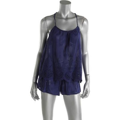 In Bloom by Jonquil 5093 Womens Navy Crochet Camisole With Short M BHFO