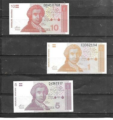 Croatia 3 Different Unc Banknote Paper Money Currency Bill Note Lot Collection