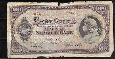Hungary #111 1945 Good Circ 100 Pengo Old Banknote Paper Money Currency Note