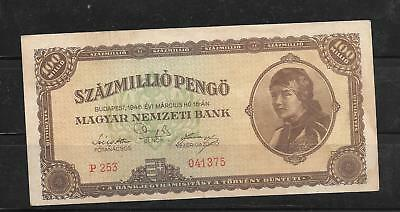 Hungary #124 1946 100 Million Pengo Very Good Circ Old Banknote Paper Money Note