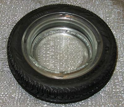 Hot rod car tire ashtray auto in glass and rubber