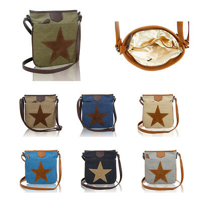 7f837b4419 LeahWard Women s Fabric Star Print Cross Body Bags Canvas Satchel Handbags