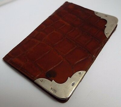 LOVELY ENGLISH ANTIQUE c1900 SOLID SILVER & CROCODILE SKIN BUSINESS CARD WALLET