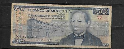 Mexico #73 1981 Vg Circulated 50 Peso Old Vintage Banknote Paper Money Currency