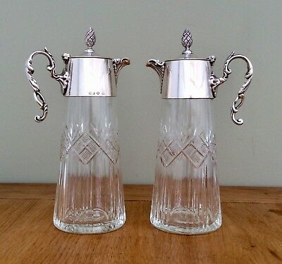 Fine Pair Of Sheffield Silver Plated & Crystal CutGlass Claret  Wine Jugs C1900