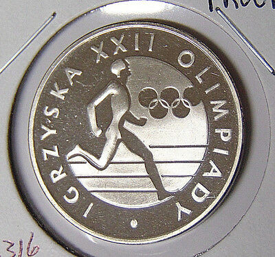 Proof 1980 Poland Silver 100 Zlotych Olympic Runner Type Commemorative (31517)