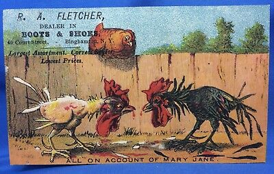 1890s Antique CHICKENS Boots SHOES Victorian Advertisng Trade Card BINGHAMTON NY