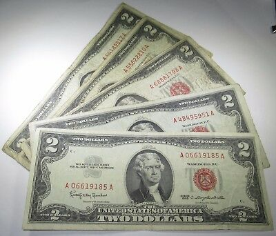 5 1953 & 1963 U.S. $2 Two Dollar Bill Notes Antique US Currency Collection Money