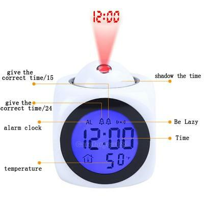 Projection Snooze Desk Alarm Clock Digital Voice Time Temperature LCD Display