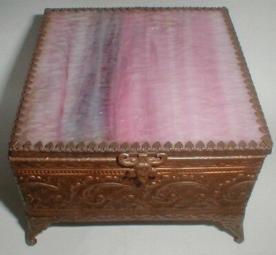 vintage antique PINK PURPLE STAINED ART GLASS BRONZED COFFIN TRINKET BOX beauty!