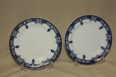 "Pair Burgess & Leigh Haddon R 600215 9 5/8"" Flow Blue Dinner Plates 7009"