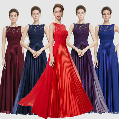 Ever-Pretty Lace Formal Evening Dress Pleated Long Bridesmaid Dresses Party Gown