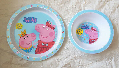 Girls  Peppa Pig  2 Piece Micro Safe Plate and  Bowl Mealtime Set 6 Mths + New