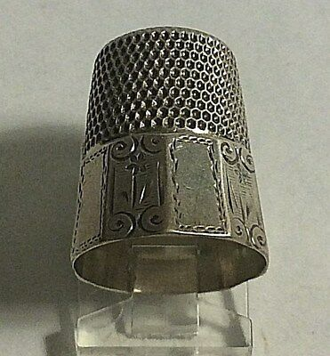 Antique Stern Bros. Sterling Silver Flower Scrolls Paneled Thimble Sewing Sz 11
