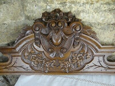 "46.5""  Antique French Hand Carved Pediment 19 th Oak Wood Ribbon Louis XVI"