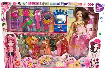 18Pc Girls Doll Fashion Play Set Accessories Jewellery Clothes Toy Gift Barbie
