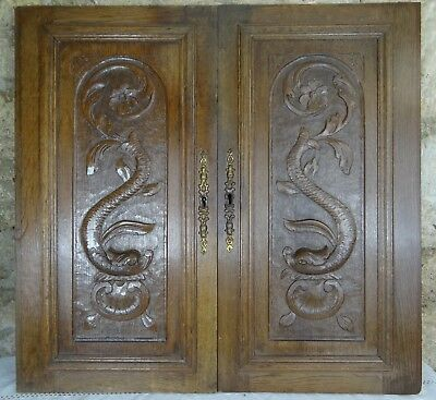 Antique French Pair of Carved Architectural Oak Door Panel Wood - Dragon Chimera