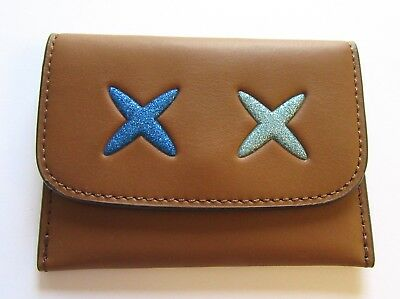 Coach Glitter Cheeky Card Pouch Case- two Xs- brown-blues  F22957