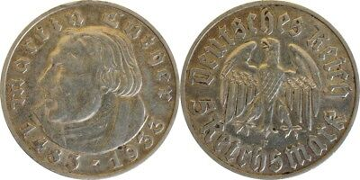 5 Reichsmark 1933 F Luther patina ss/vz. #29405