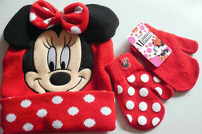 Disney Minnie Mouse Stocking Cap With Matching Mittens Winter Gift Set