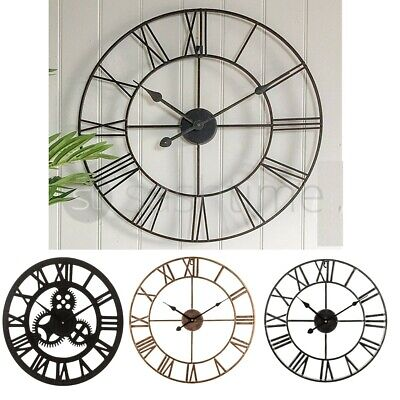 Livivo Traditional Vintage Style Iron Wall Clock Roman Numerals Home Decor Gift
