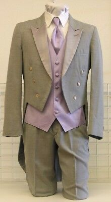 Grey Tail Coat Silver Vintage Steampunk Cosplay theater dance tailcoat formal