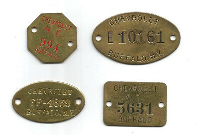 (4) Chevrolet Brass Factory Manufacturing Tool Tags - Buffalo, Ny - Unused