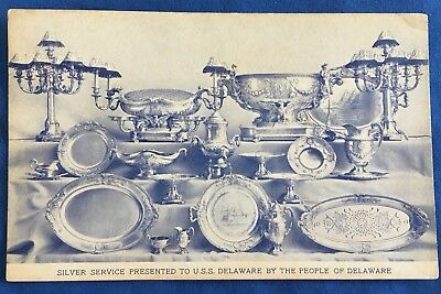 1910 Silver Service Postcard Presented To USS Delaware Sterling Gorham