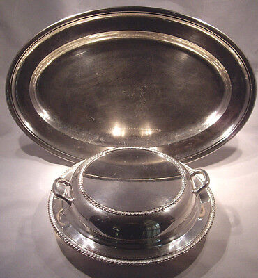 4pc. Silver plated set 1 Large Tray & 1 Versatile Casserole dish good used cond.