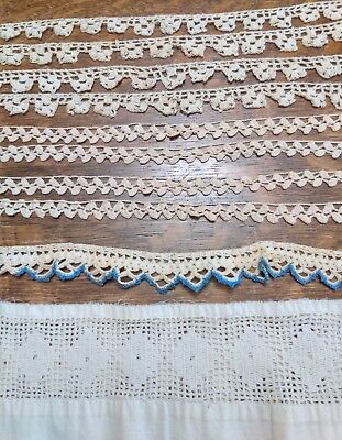 Vintage Lot Of 10 Crocheted  Edgings For Pillowcases Lace Insert  Ecru Blue