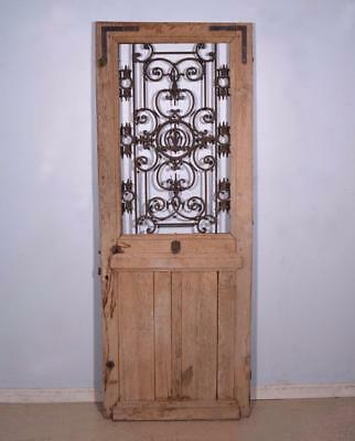 "*Antique French 83"" Solid Oak Door with Iron Grille Rustic Salvage"