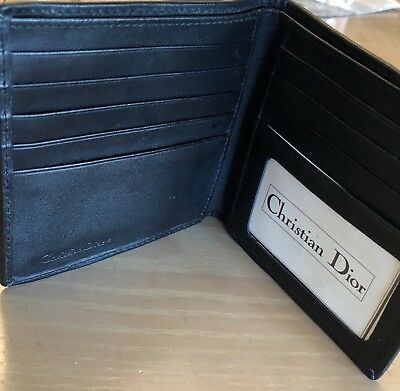 CHRISTIAN DIOR new black Authentic MENS Leather WALLET original $250.00
