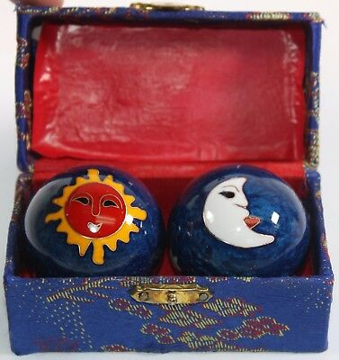 Blue Sun Moon Cloisonne Finger Massage Exercise Iron Ball Hand Stress Relief Set