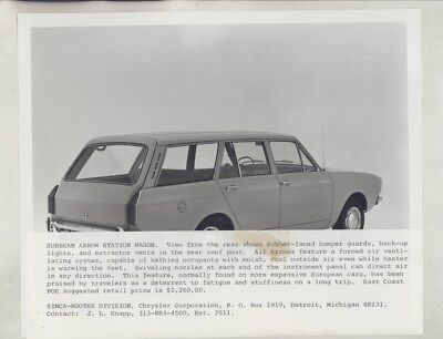 1967 Sunbeam Arrow Station Wagon ORIGINAL Factory Photo & Press Release wy8187
