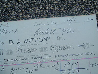 1900 Rutland/Beloit,Wisconsin,Evans,Anthony family/Cream Cheese Maker letterhead