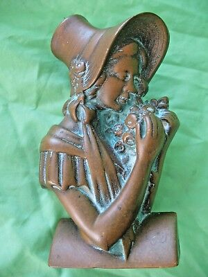 Old antique reclaim Edwardian period Young Girl in Bonnet brass door knocker