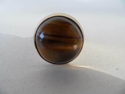 Vintage Retro Mens Or Ladies Adjustable Tigers Cats Eye Dress Gold Toned  Ring