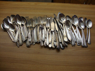 Vintage Silverplate Flatware Craft Lot Of 100 Mixed Flatware For Arts Jewelry