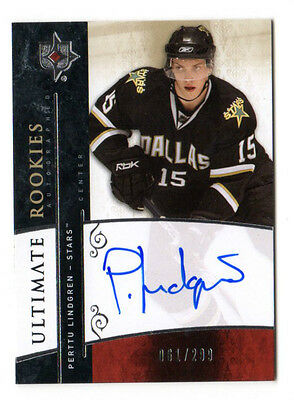 Perttu Lindgren Nhl 2009-10 Ultimate Collection  Auto Rookie Card (Dallas Stars)