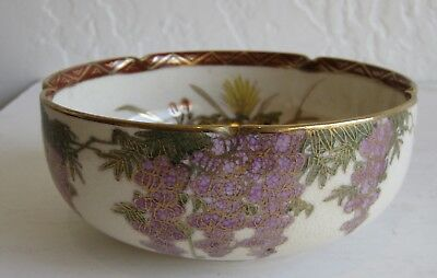 Fine Old Japanese Satsuma Pottery Flowers & Ducks Decorated Bowl SIGNED