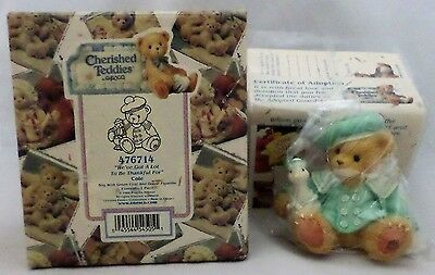 """Cherished Teddies by ENESCO - #476714 Cole """"A Lot To Be Thankful For"""" - 1998 NEW"""