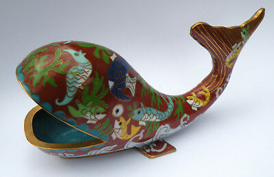 Vintage Chinese Cloisonne enamel and brass whale figurine with seahorse koi fish