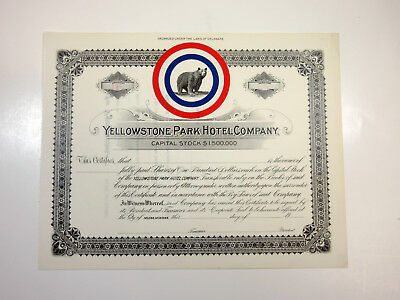 Yellowstone Park Hotel Co. Unissued Stock Certificate ca.1900 UNC