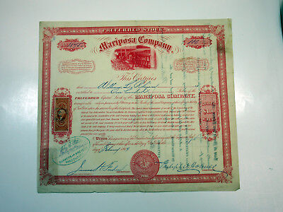 Mariposa Company 1869 Stock Certificate 100 Shares + Revenue Stamp I/C F-VF