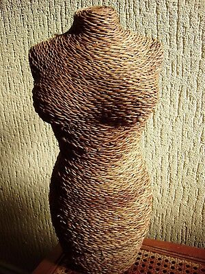Vintage wicker mannequin, female torso, shop dummy, display