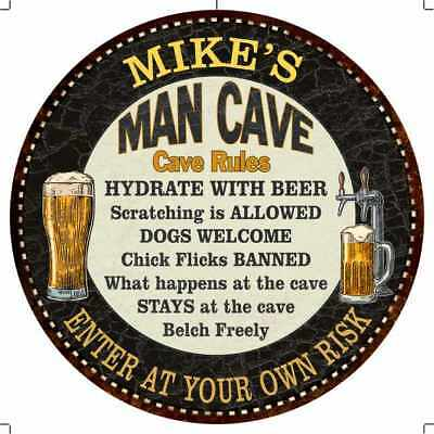 MIKE'S Man Cave Rules Round Metal Sign Black Garage Bar Wall Décor R14110091