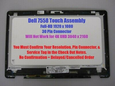 6V05G 4F59D 15.6 FHD LCD LED Touch Screen Assembly w// Bezel Dell Inspiron P//N