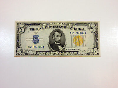 US 5 Dollars Series 1934A Silver Certificate North Africa Yellow Seal Ch. VF