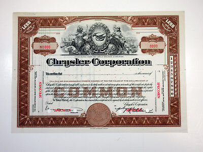 Chrysler Corporation ca.1925 SPECIMEN Comon Stock Certificate POC ABNC AU+
