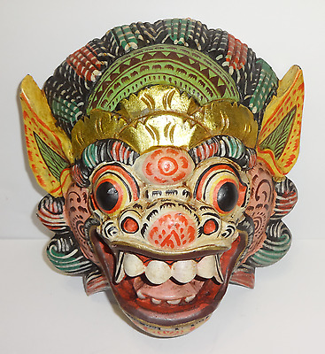 VINTAGE Barong Bali Indonesia Demon Wood Hand Carved Painted Mask Wall Decor